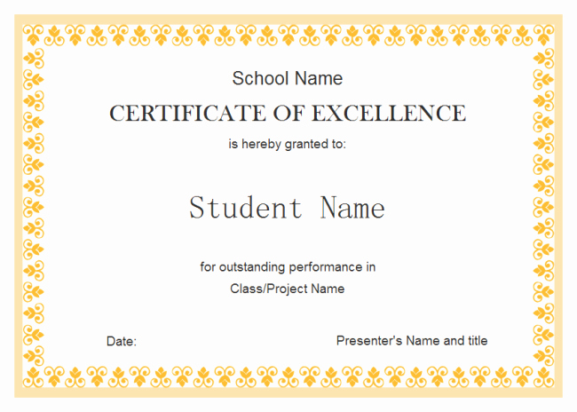 Certificate Of Excellence Template Lovely Perfect Example Of Editable Certificate Of Excellence