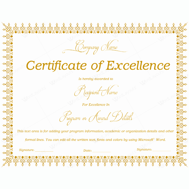 Certificate Of Excellence Template Luxury Certificate Excellence 06 Word Layouts