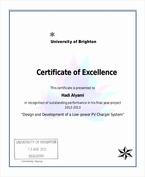 Certificate Of Excellence Template Luxury Excellence Certificate Template 22 Word Pdf Psd