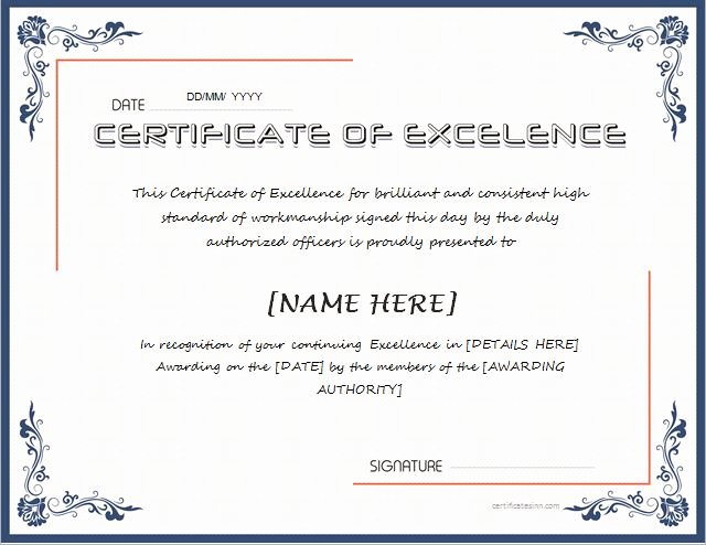 Certificate Of Excellence Template Unique Certificates Of Excellence for Ms Word