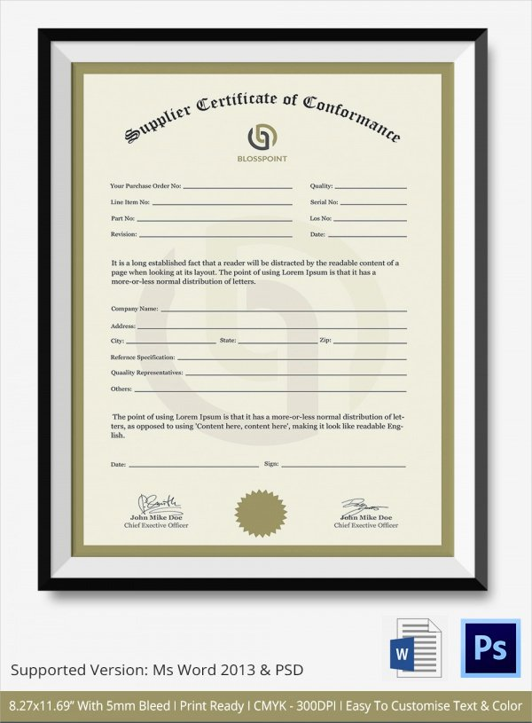 Certificate Of Quality Template Awesome 20 Certificate Of Conformance Templates