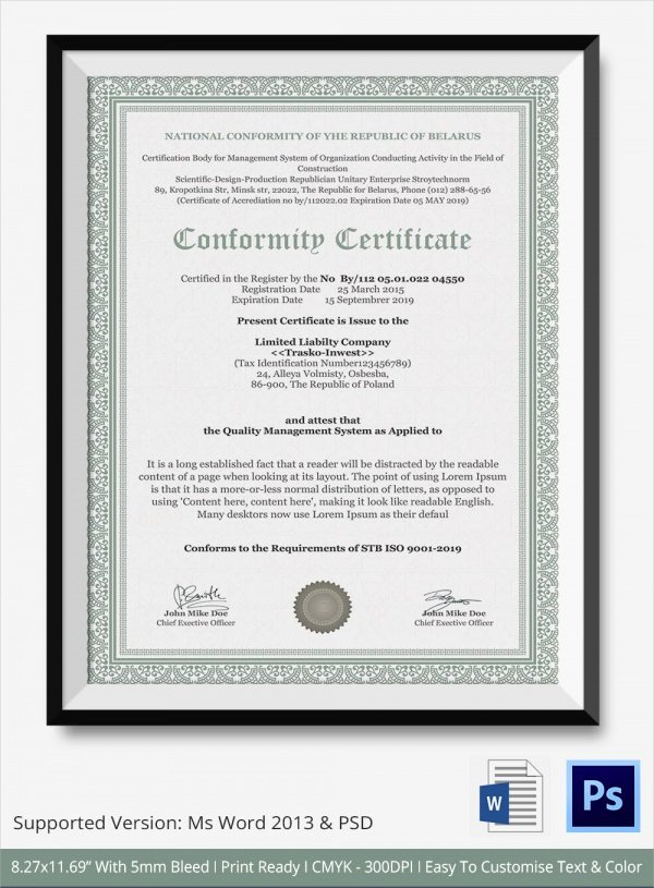 Certificate Of Quality Template Awesome Sample Certificate Of Conformance 19 Documents In Pdf