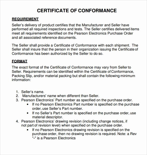 Certificate Of Quality Template Beautiful Sample Certificate Of Conformance 21 Documents In Pdf