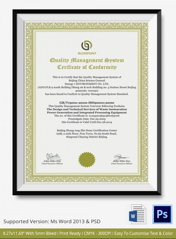 Certificate Of Quality Template Elegant Certificate Of Conformance Template 7 Free Word Pdf