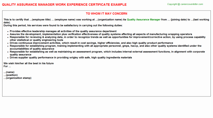 Certificate Of Quality Template New Quality assurance Certificate Template