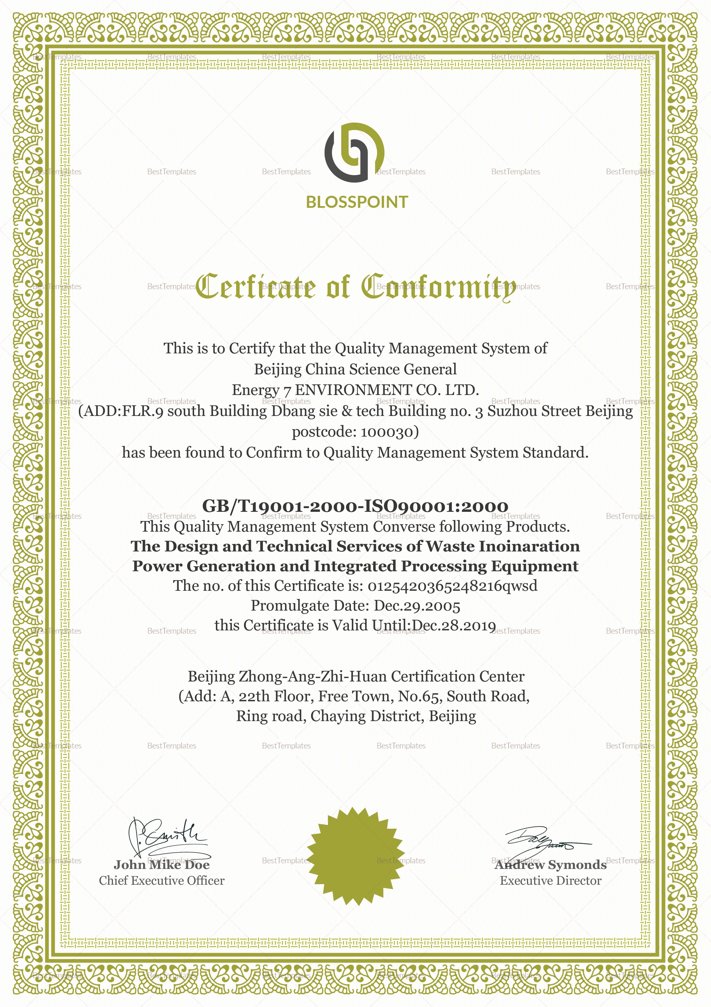 Certificate Of Quality Template Unique Simple Conformity Certificate Design Template In Psd Word