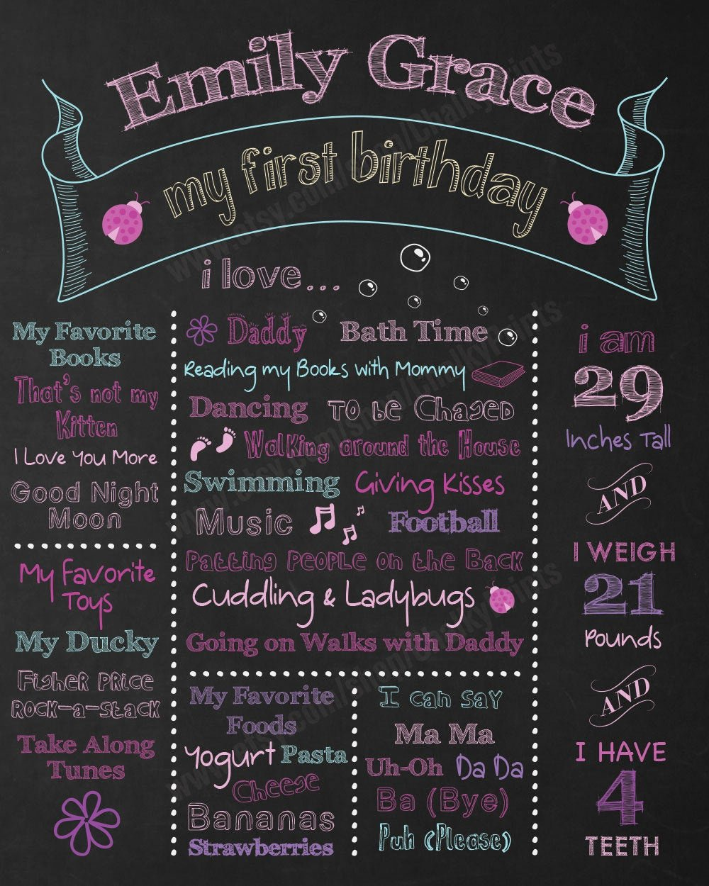Chalkboard Birthday Sign Template New First Birthday Chalkboard Sign Personalized & Printable