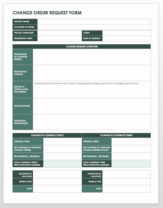 Change order Template Excel Awesome 15 Free Work order Templates