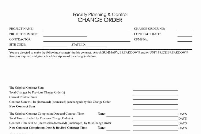 Change order Template Excel Luxury 11 Change order Template Free Download