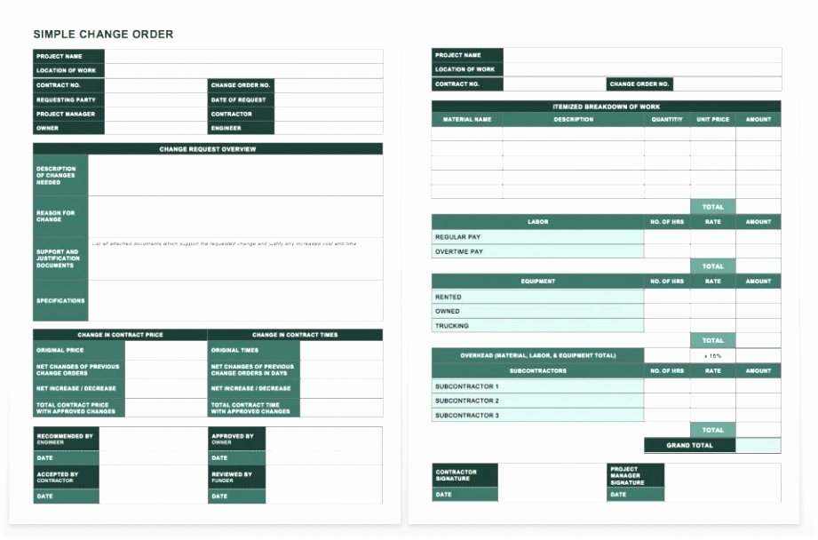 Change order Template Excel Luxury 5 Schedule Change Request form Template Eeatr