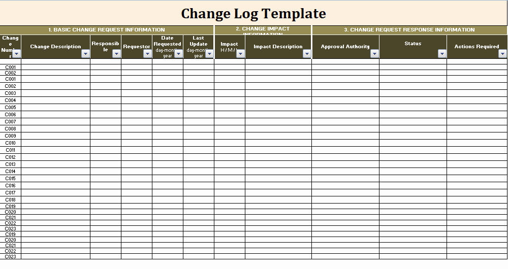 Change order Template Excel Unique Change Log Template