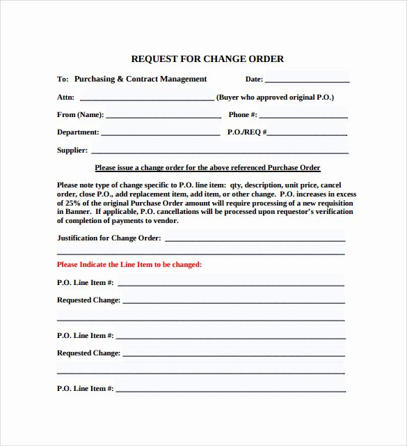 Change order Template Word Fresh 8 Change order Templates Docs Pages
