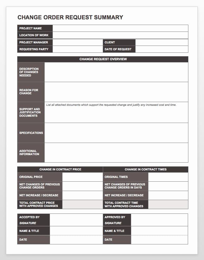 Change order Template Word Fresh Plete Collection Of Free Change order forms