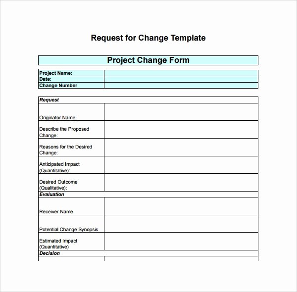 Change Request form Template Excel Elegant Sample Change Log Template 6 Free Documents In Pdf