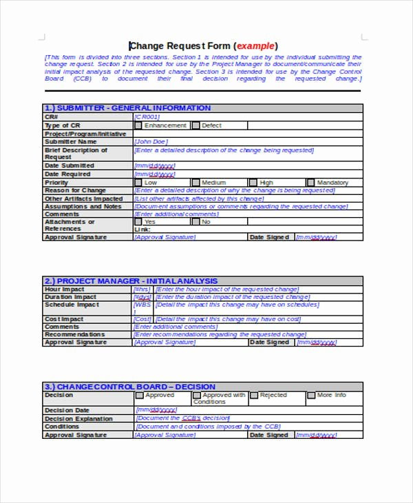Change Request form Template Excel Inspirational Request form Template