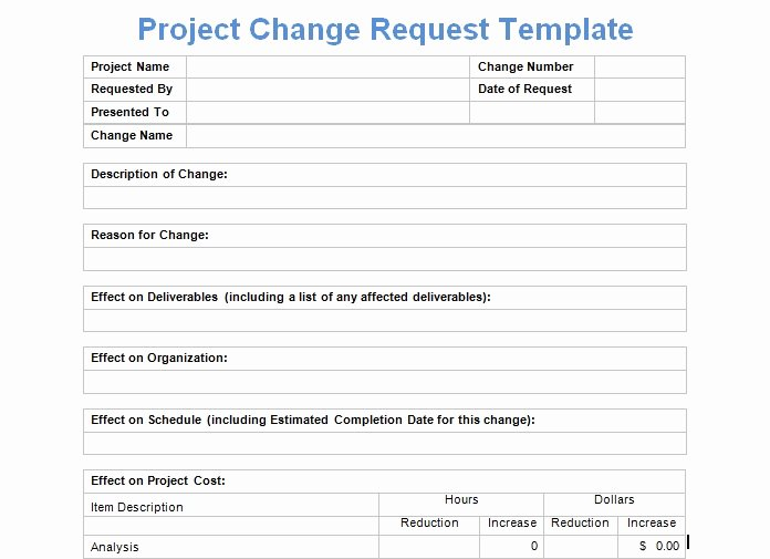 Change Request form Template Excel Lovely Project Change Request Template