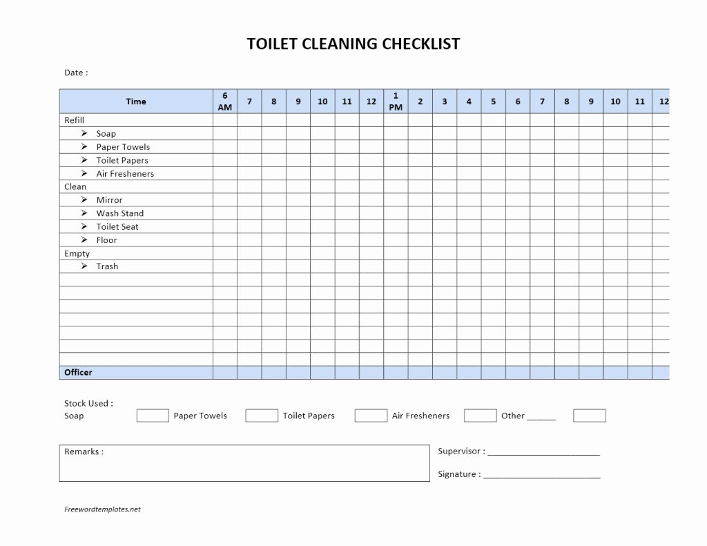 Check Off List Template Fresh toilet Cleaning Checklist