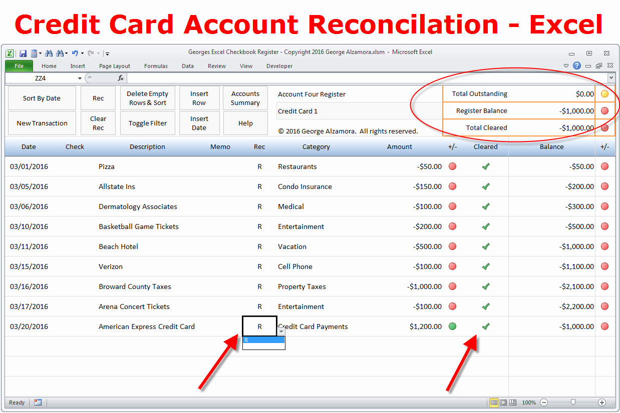 Checkbook Register Template for Mac Awesome How to Reconcile Credit Card Account In Excel Checkbook