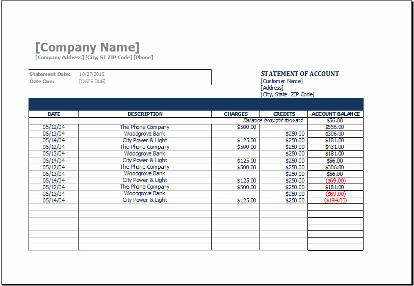Checking Account Balance Sheet Template Unique Ms Excel Printable Statement Of Account Template