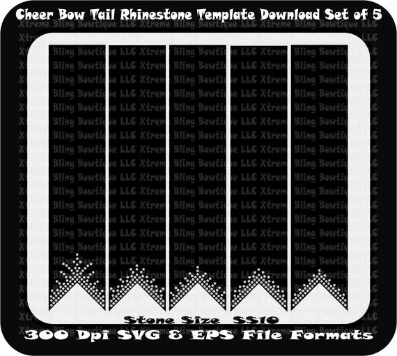 Cheer Bow Template Download Elegant Cheer Bow Tail Set Of 5 Rhinestone Template by
