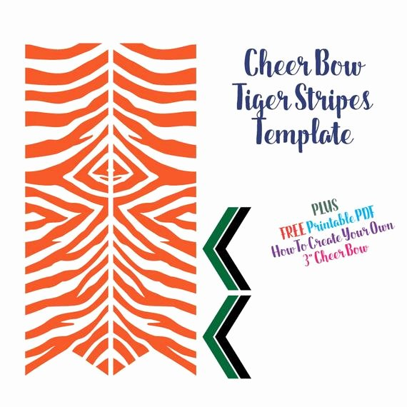 Cheer Bow Template Inspirational Cheer Bow Template Tiger Stripes for Vinyl Heat Transfer