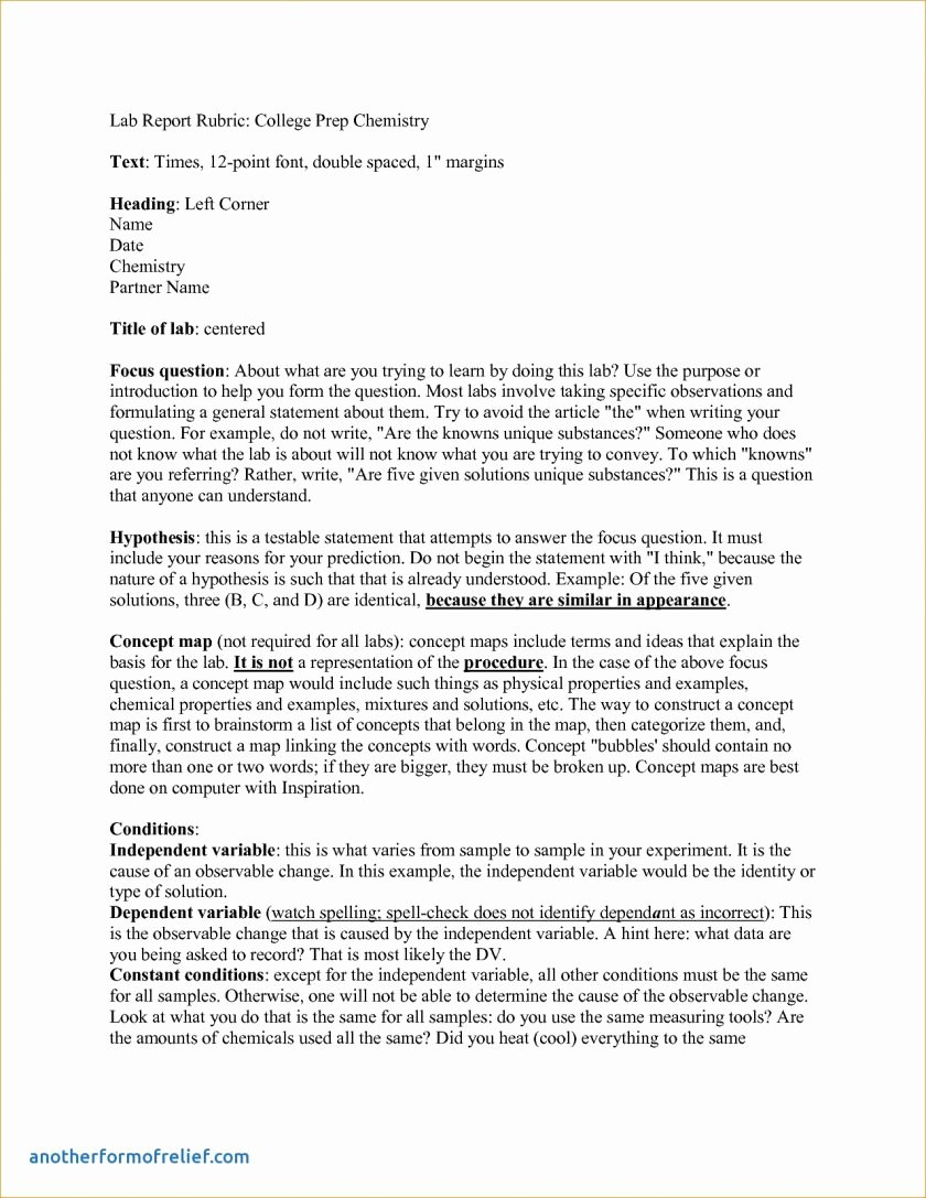 Chemistry Lab Report Template Beautiful Report Example Lab Chemistry Invest Wight Templateh