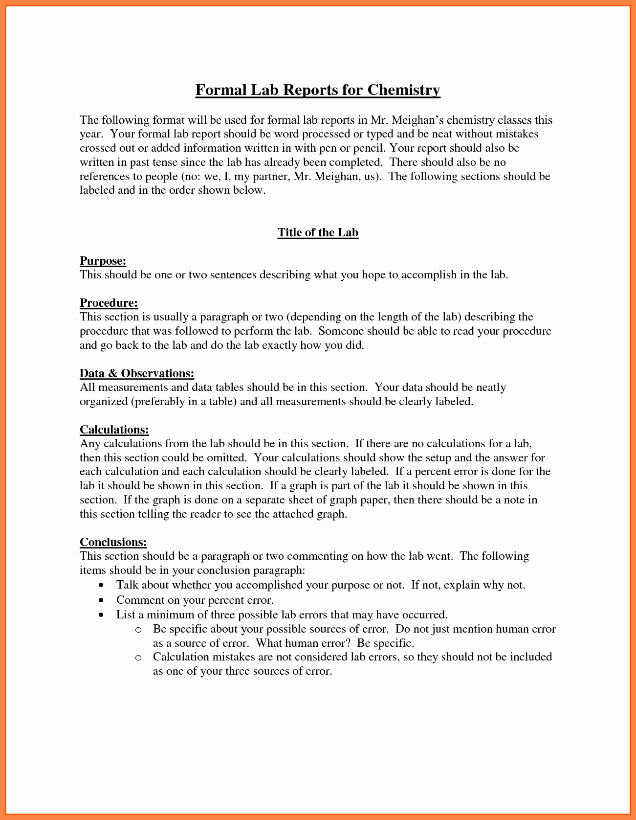 Chemistry Lab Report Template New 9 Chemistry Lab Report Example