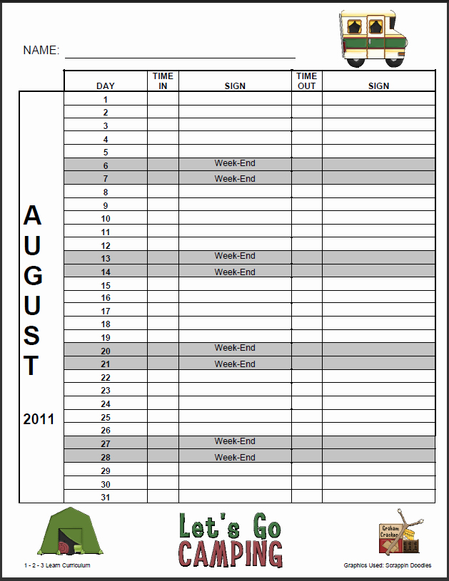 Child Care Sign In Sheet Template Luxury 1 2 3 Learn Curriculum August and September Sign In
