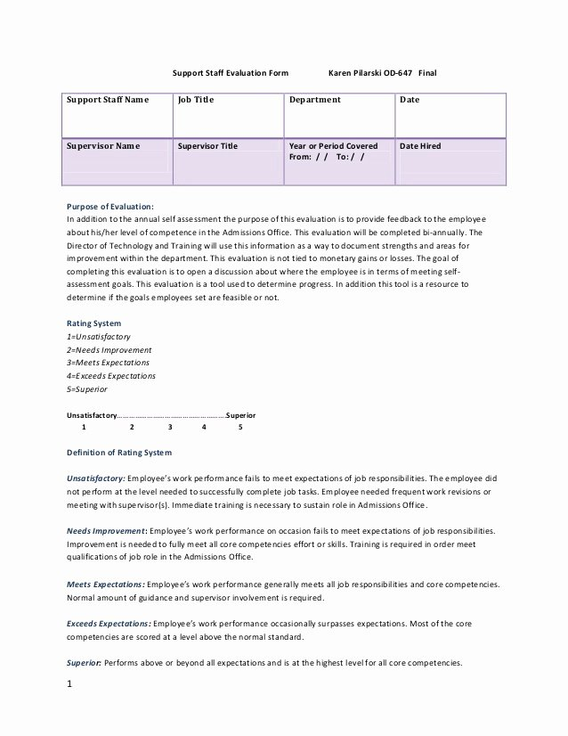 Child Care Staff Evaluation form Elegant Staff Evaluation form