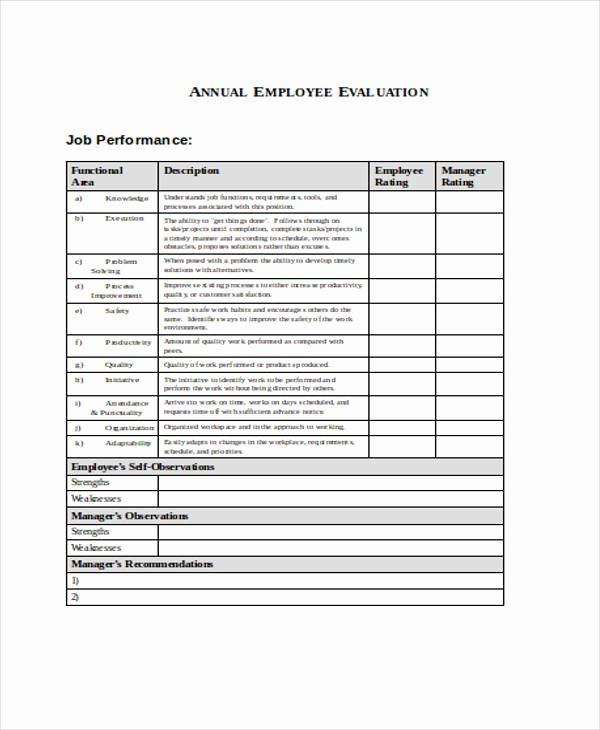 Child Care Staff Evaluation form Fresh 25 Free Employee Evaluation forms