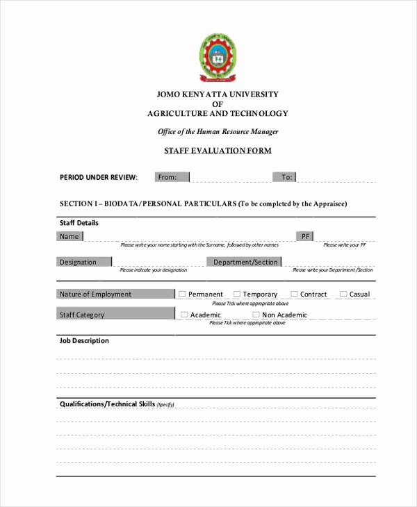 Child Care Staff Evaluation form Fresh Printable Employee Evaluation form