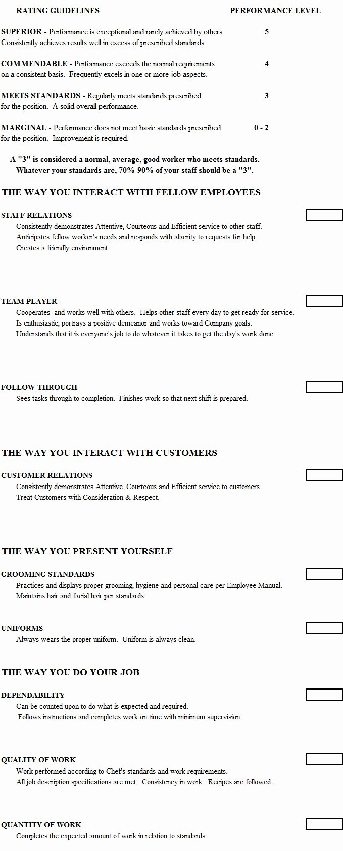 Child Care Staff Evaluation form Unique Cook Evaluation form Chefs Resources