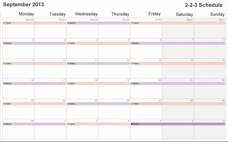 Child Custody Calendar Template Best Of Custody Calendar Template