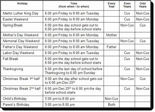 Child Custody Calendar Template Best Of Standard Nevada Holiday Visitation Schedule