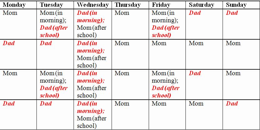 Child Custody Calendar Template Fresh Child Custody and Parenting Time