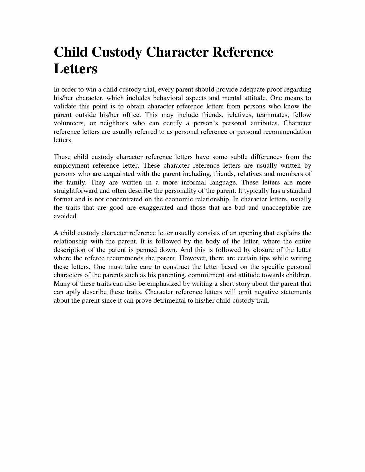 Child Custody Letter Template Fresh Character Reference Letter for Court Child Custody