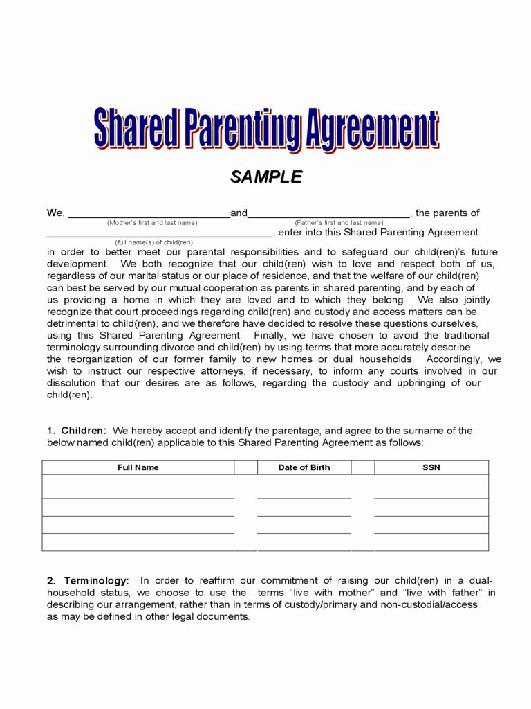 Child Custody Letter Template Inspirational Child Custody Agreement Template Elegant Joint Custody