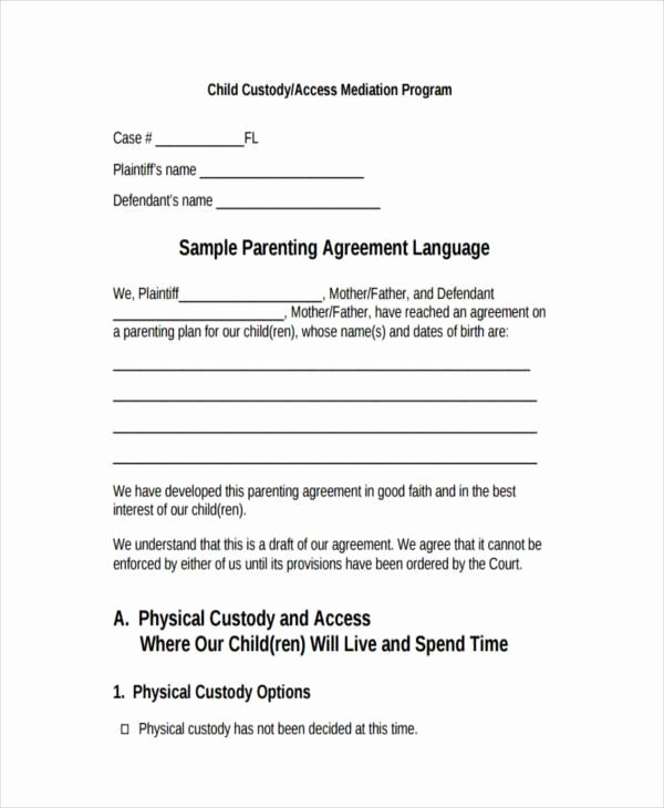 Child Custody Letter Template Inspirational Voluntary Child Custody Agreement form