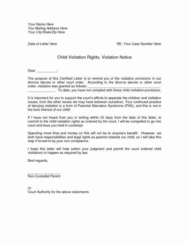 Child Custody Letter Template Unique Notarized Custody Agreement Template