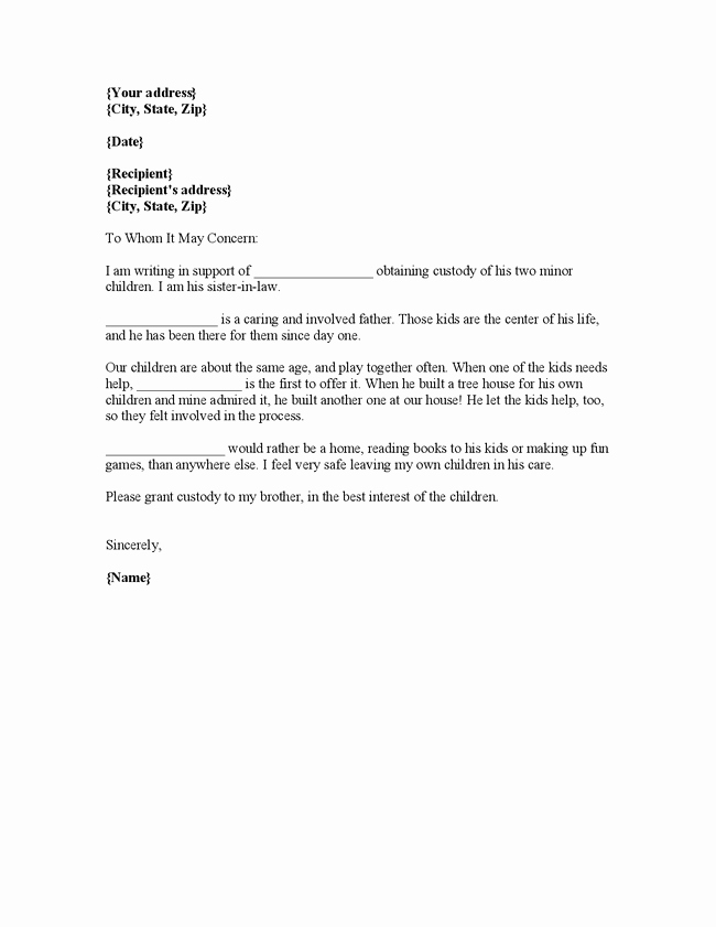 Child Custody Letter Template Unique Sample Character Reference Letter to A Landlord Contoh 36