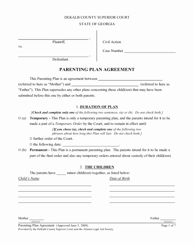 Child Relocation Agreement Template Beautiful 2019 Parenting Plan form Fillable Printable Pdf & forms
