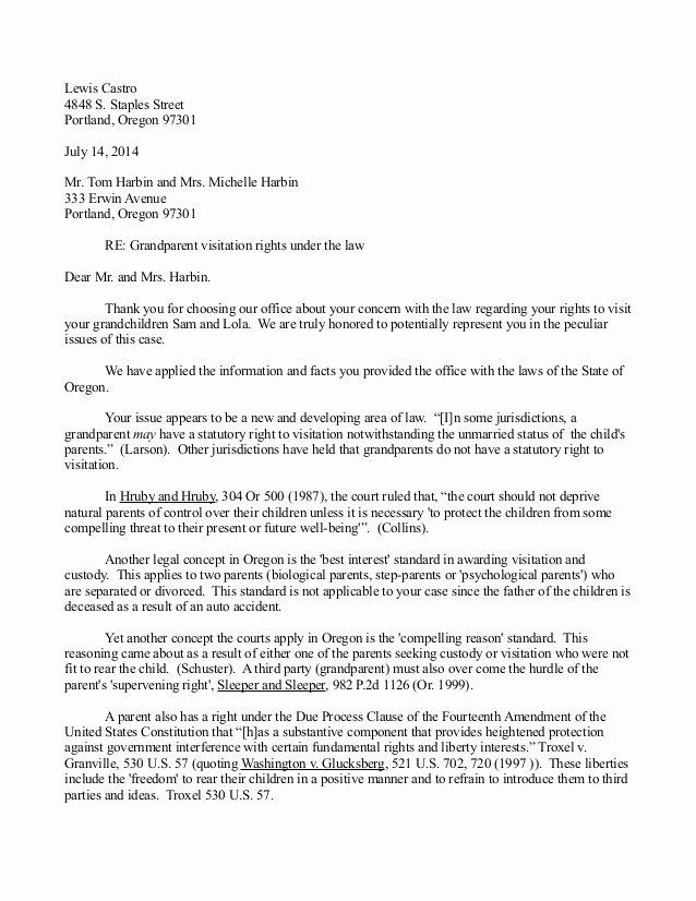 Child Relocation Agreement Template Lovely Letter Writing Sample for Grandparent Custody Possession