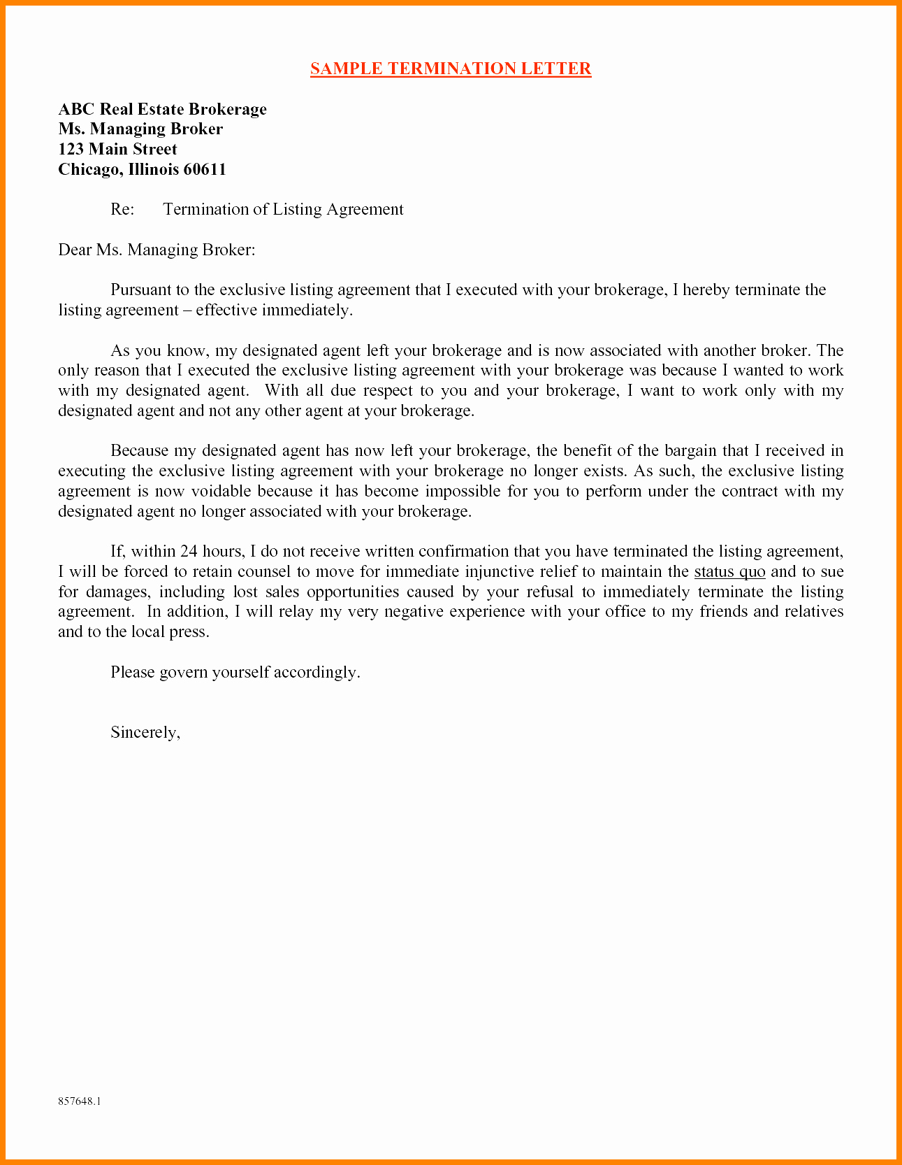 Child Relocation Agreement Template Luxury 7 Daycare Termination Letter