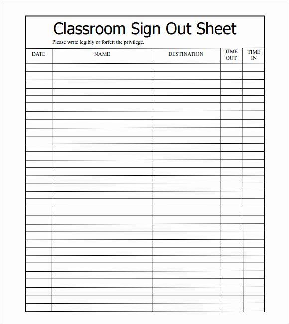 Childcare Sign In and Out Sheet Inspirational 13 Sign Out Sheet Templates Pdf Word Excel