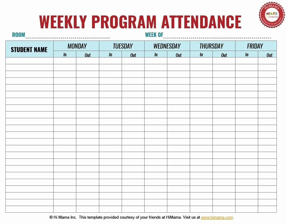 Childcare Sign In and Out Sheet Lovely 9 Free Sample Child Care attendance Sheet Templates