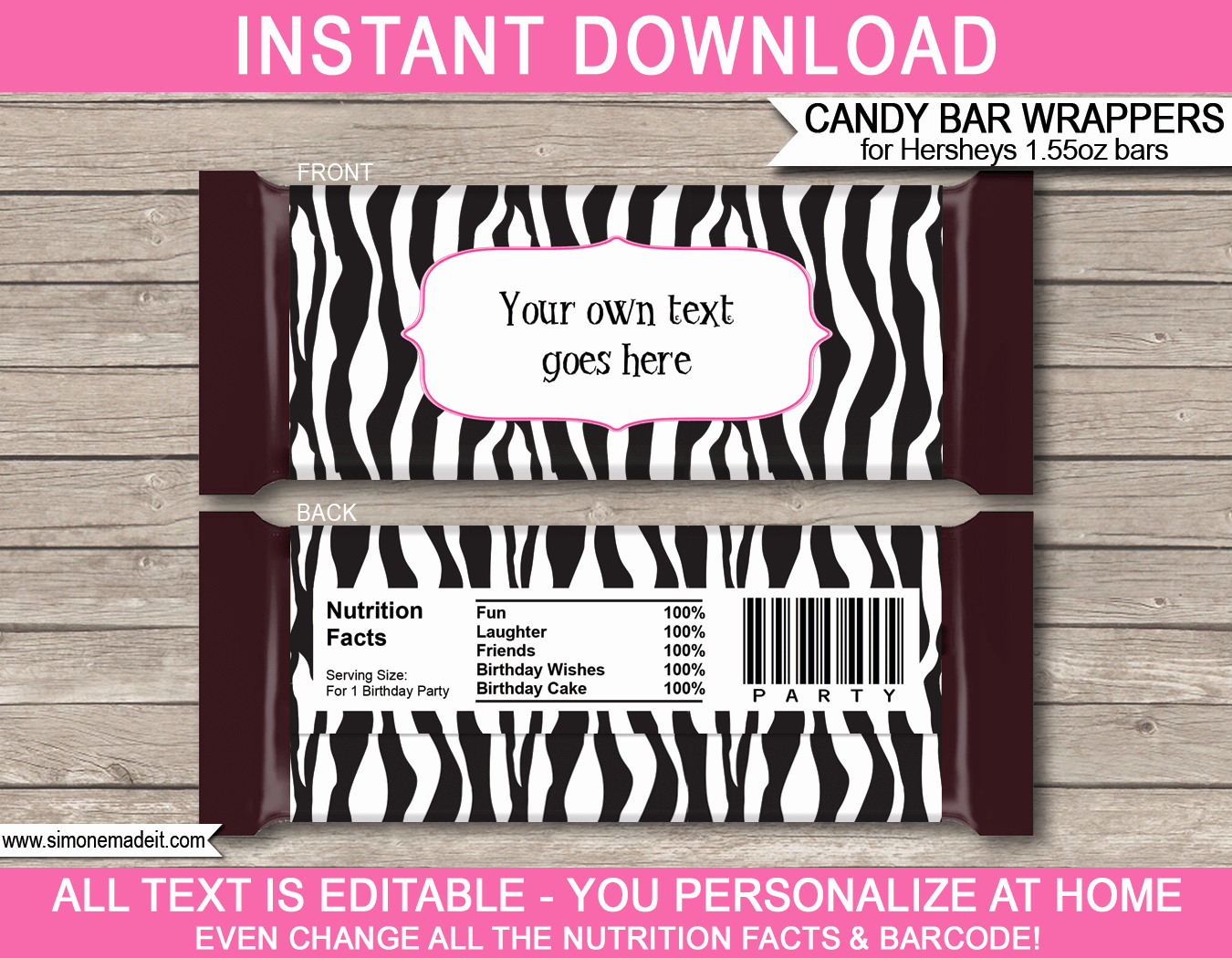 Chocolate Bar Wrapper Template Free Inspirational Zebra Hershey Candy Bar Wrappers