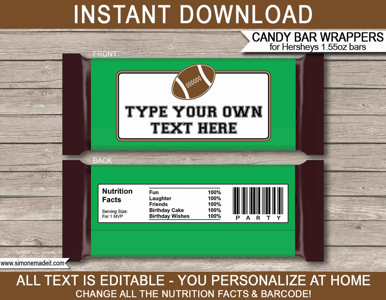Chocolate Bar Wrapper Template Free Unique Football Hershey Candy Bar Wrappers