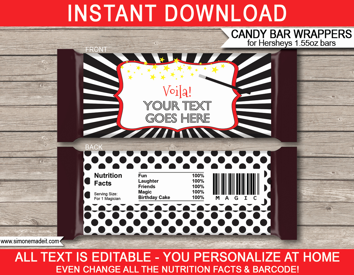 Chocolate Bar Wrapper Template Free Unique Magic Hershey Candy Bar Wrappers