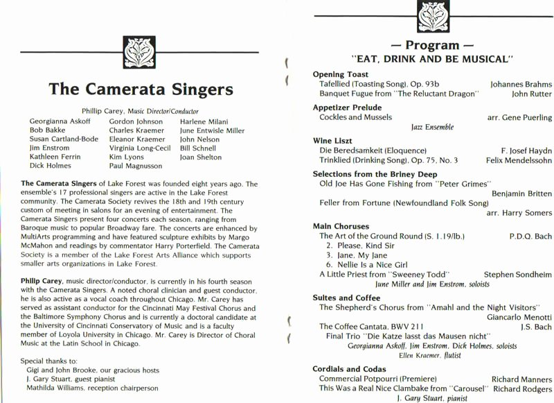 Choir Concert Program Template Fresh themes From Past Programs Camerata Singers