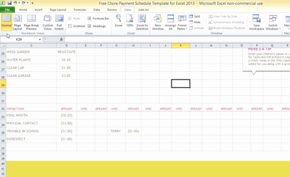 Chore Chart Templates Excel Awesome Free Chore Payment Schedule Template for Excel 2013